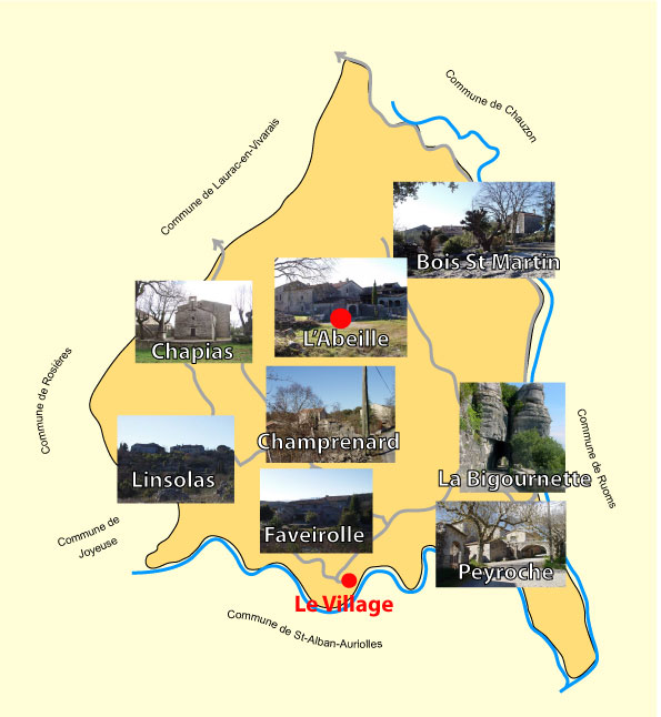 Le hameau de l'Abeille se trouve au nord de la commune